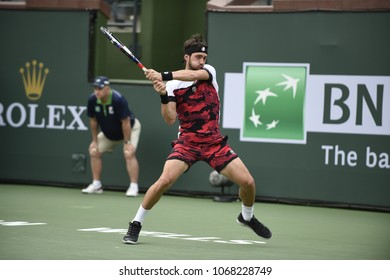 INDIAN WELLS - MARCH 9:  Nikoloz Basilashvili (GEO) competes in round 2 doubles at the BNP Paribas Open on March 9, 2018 in Indian Wells, CA.