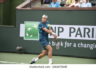 INDIAN WELLS - MARCH 9:  Tennys Sandgren (USA) competes in round 1 at the BNP Paribas Open on March 9, 2018 in Indian Wells, CA.