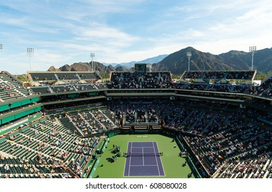INDIAN WELLS, UNITED STATES - MARCH 14 : Ambiance overlooking Stadium 1 at the 2017 BNP Paribas Open WTA Premier Mandatory tennis tournament