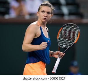 INDIAN WELLS, UNITED STATES - MARCH 11 : Simona Halep at the 2017 BNP Paribas Open WTA Premier Mandatory tennis tournament