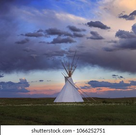 Indian wigwam at sunset