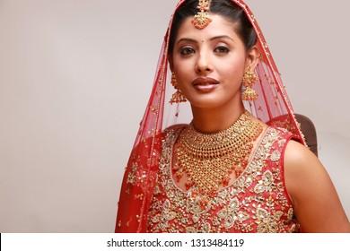 Indian Woman in Bridal Saree Dress