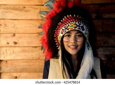 Indian woman hunter.Native American