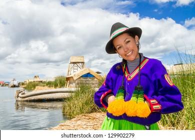 Indian woman in Peru at lake Titicaca
