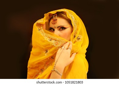 Indian Woman Portrait, Young Model Girl of India in Yellow Fashion Dress