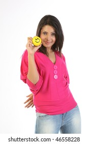 Indian woman with smile ball
