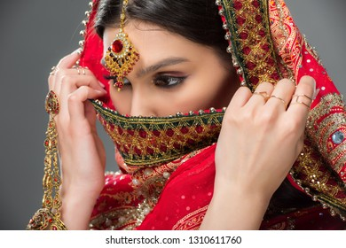 indian woman in traditional sari and bindi, isolated on grey