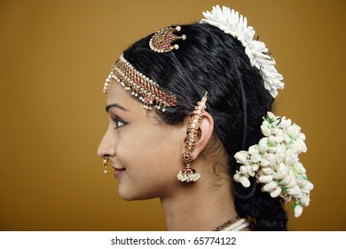 Indian woman wearing traditional facial jewellery