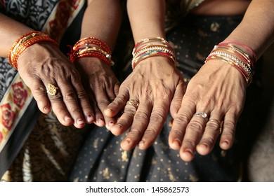 Indian women hands closeup