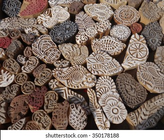Indian wood printing blocks from Jaipur, Rajasthan, India