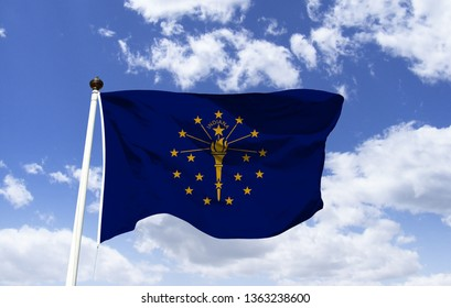 Indiana flag mockup in the wind. Symbol of Indiana. Indiana Flag as a symbol. Indiana State Flag. Flag of the US state, consists of a golden torch, 13 stars represent Colonies and 5 other states