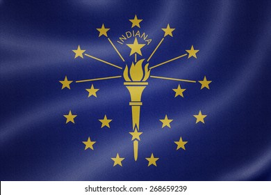 Indiana flag on the fabric texture background