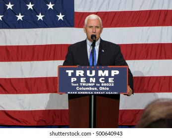 Indiana Governor and 2016 Republican Vice-Presidential nominee Mike Pence speaks at a rally at the Columbus Convention Center in Columbus, Ohio on Monday, October 17, 2016