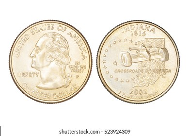 Indiana state commemorative quarter dollar US coin, year 2002. Isolated on white background with clipping path