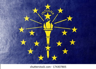 Indiana State Flag painted on leather texture
