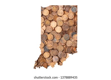 Indiana State Map and Money Concept, Piles of Coins, Pennies