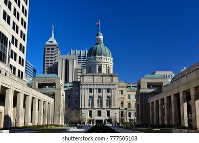 Indiana Statehouse Capitol Building on a Sunny Day with the Indianapolis Skyline