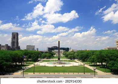 Indiana Veterans Memorial Plaza in downtown Indianapolis, Indiana
