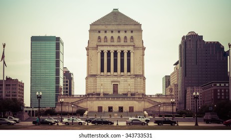 Indiana World War Memorial Plaza in Indianapolis, Indiana.