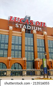 INDIANAPOLIS - APRIL 11: Lucas Oil Stadium on April 11, 2014 in Indianapolis, Indiana. It's a multi-purpose stadium in downtown Indianapolis officially opened to the public on August 16, 2008.
