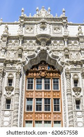 Indianapolis - Circa April 2017: Facade of the Indiana Repertory Theatre. At the top of the central arch are medallions of Christopher Columbus, King Ferdinand and Queen Isabella II