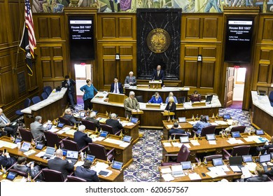 Indianapolis - Circa April 2017: Indiana State House of Representatives in session making arguments for and against a Bill I