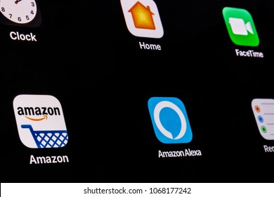 Indianapolis - Circa April 2018: Amazon and Echo Alexa App. Amazon.com is the Largest Internet-Based Retailer in the United States VI