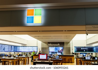 Indianapolis - Circa April 2018: Microsoft Retail Technology Store. Microsoft develops and manufactures Windows and Surface software I