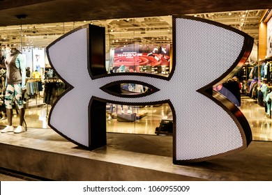 Indianapolis - Circa April 2018: Under Armour retail mall location. Under Armour manufactures a popular line of sporting equipment apparel I