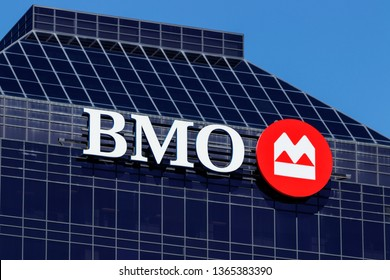 Indianapolis - Circa April 2019: Signage and Logo of BMO Harris Bank. BMO Harris is a subsidiary of the Bank of Montreal I