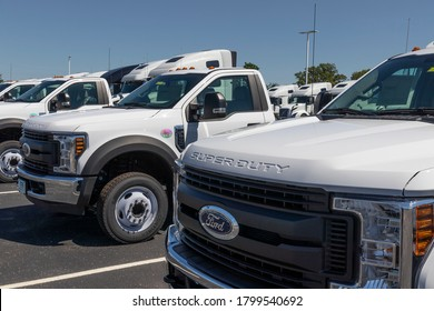 Indianapolis - Circa August 2020: Ford F550 Super Duty Dually Trucks at a dealership. Ford sells products under the Lincoln and Motorcraft brands.