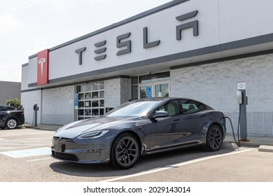 Indianapolis - Circa August 2021: Tesla Model S EV electric vehicle on display. Tesla products include electric cars, battery energy storage and solar panels.