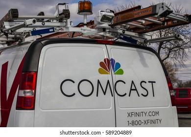 Indianapolis - Circa February 2017: Comcast Service Vehicle. Comcast is a Multinational Mass Media Company XI