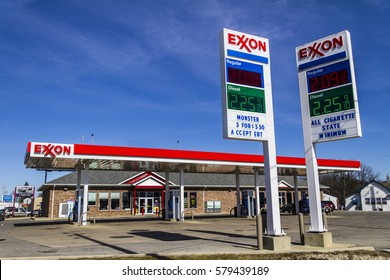 Indianapolis - Circa February 2017: Exxon Retail Gas Location. ExxonMobil is the World's Largest Oil and Gas Company IV