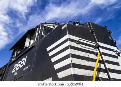 Indianapolis - Circa February 2017: Norfolk Southern Railway Engine Train. NS is a Class I railroad in the US and is listed as NSC I