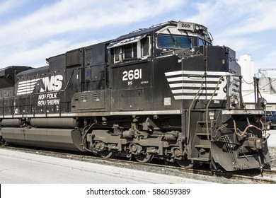 Indianapolis - Circa February 2017: Norfolk Southern Railway Engine Train. NS is a Class I railroad in the US and is listed as NSC II
