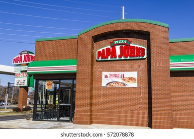 Indianapolis - Circa February 2017: Papa John's Take-Out Pizza Restaurant. Papa John's is the third largest take-out and pizza delivery chain in the world V