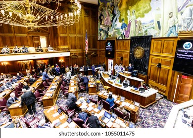 Indianapolis - Circa February 2018: Indiana State House of Representatives in session making arguments for and against a Bill IV