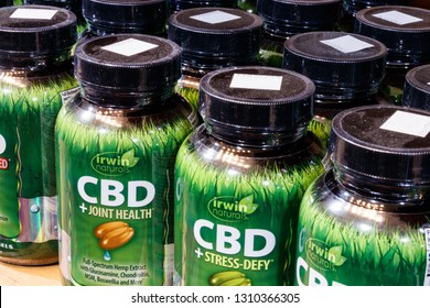 Indianapolis - Circa February 2019: Irwin Naturals CBD products. The popularity of CBD oil as a medicinal product has skyrocketed VI