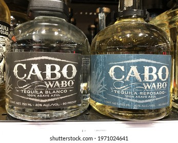 Indianapolis - Circa February 2021: Cabo Wabo tequila display. Cabo Wabo tequila was backed by Sammy Hagar and sold to Gruppo Campari.