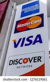 Indianapolis - Circa January 2019: VISA, MasterCard, Discover and American Express logos. VISA, MasterCard, Discover and AMEX offer many payment products worldwide I