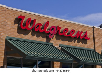 Indianapolis - Circa July 2016: Walgreens Retail Location. Walgreens announced its plans to acquire Rite Aid in a deal worth $17.2 billion I