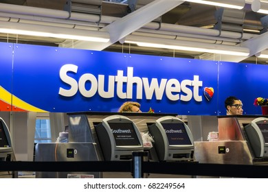 Indianapolis - Circa July 2017: Southwest Airlines Check In desk preparing passengers for departure. Southwest is the largest low-cost carrier in the world III