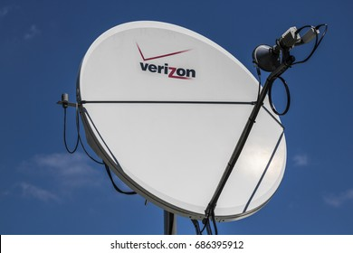 Indianapolis - Circa July 2017: Verizon railroad satellite telemetry equipment. Verizon is the largest U.S. wireless communications service provider I