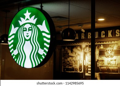 Indianapolis - Circa July 2018: Starbucks Retail Coffee Store. Starbucks aims to Eliminate Plastic Straws Globally by 2020 III
