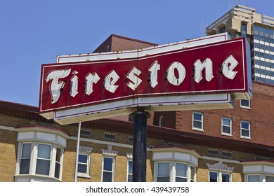 Indianapolis - Circa June 2016: Firestone Complete Auto Care Location with Legacy Neon Sign I