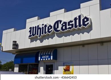 Indianapolis - Circa June 2016: White Castle Hamburger Location. White Castle Serves 2 by 2 Inch Sliders I