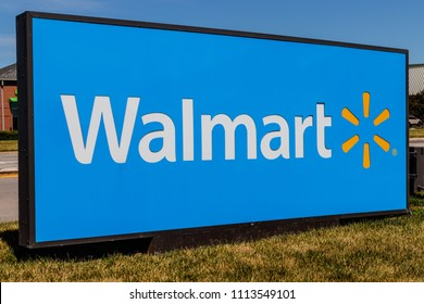 Indianapolis - Circa June 2018: Walmart Retail Location. Walmart is boosting its internet and ecommerce presence to keep up with competitors VIII