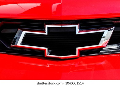 Indianapolis - Circa March 2018: Chevrolet Camaro Bowtie Emblem at a Chevy Dealership. Chevrolet is a Division of General Motors I