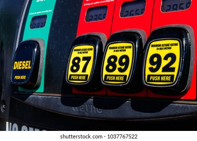 Indianapolis - Circa March 2018: Gas Station Pumps with choice of Diesel, 87 octane, 89 octane or 93 octane II